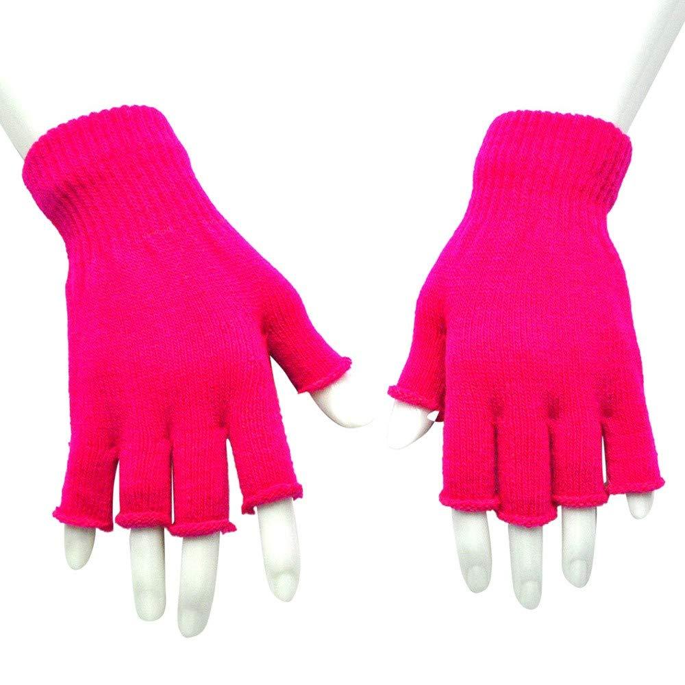 Midress Winter Warm Fingerless Gloves,Unisex Thicken Fleece Half-Fingers Glove,Touch Screen Gloves Driving Gloves Cycling Gloves for Men Women (Hot Pink)