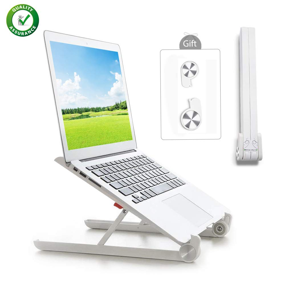 Wieppo Laptop Stand - Portable Adjustable Foldable Notebook Computer Stand, Made with Aluminum Alloy, Nylon, Desktop Holder Laptop Vented for MacBook, Dell, Lenovo, Asus, Less Than 15.6''