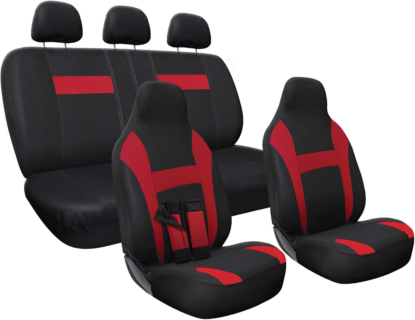 Universal Fit for Cars 10 pc Complete Set Truck Van OxGord Car Seat Cover SUV Poly Cloth Two-Tone with Front Low Bucket and 50-50 or 60-40 Rear Split Bench