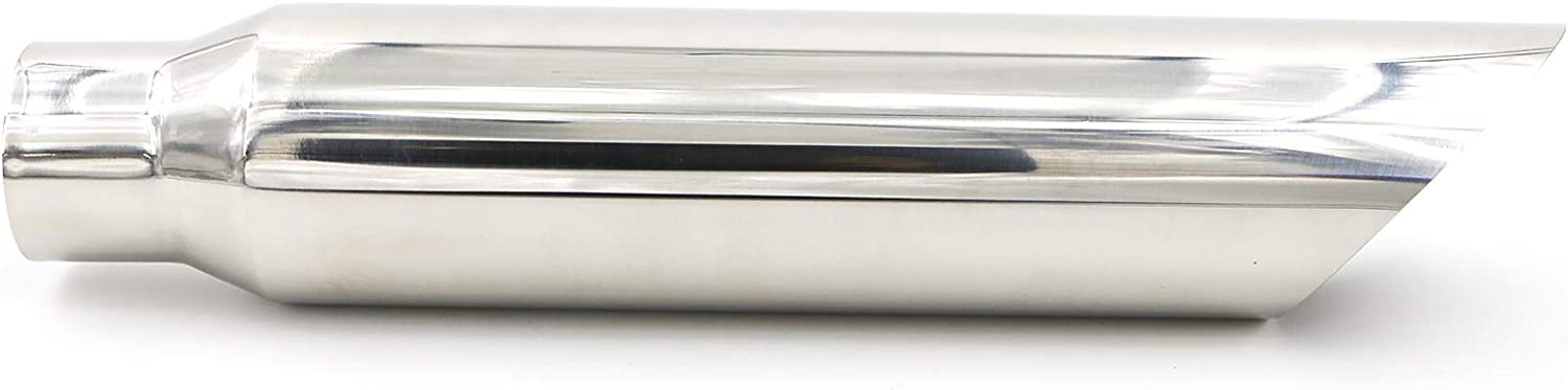 2.5 Inlet 4 Outlet 12 Long Stainless Steel Rolled Edge Exhaust Tip Black EXT08 RP Remarkable Power