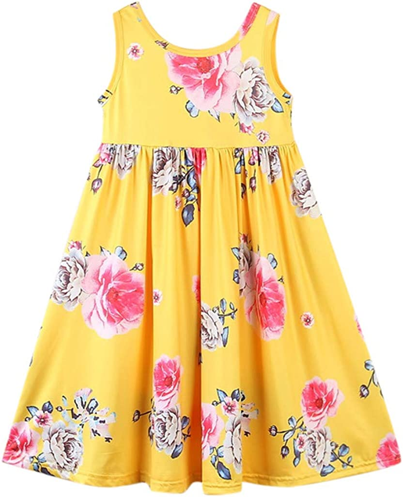 Transer/® Baby Girl Clothes Newborn Lemon Printed Infant Outfit Sleeveless Princess Gallus Dress Toddlers Swing Dresses Girls Princess Dress 0-6 Months, Yellow