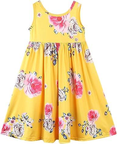 Little Girls Floral Halter Dress Summer Casual Dresses Kids Playwear 2 3 4 5 6