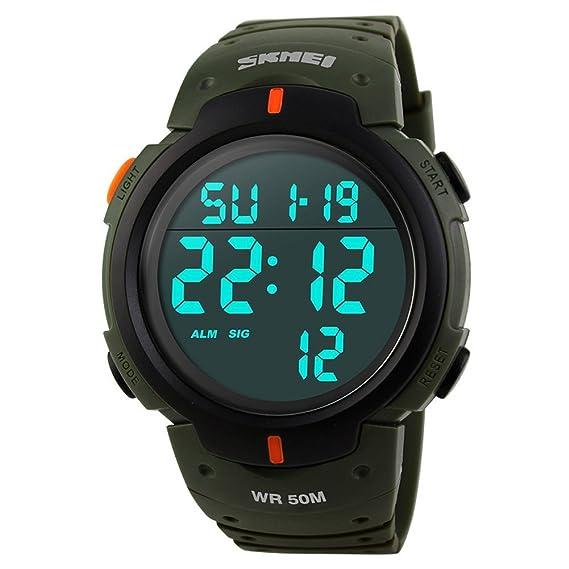 NANHONG hombres relojes Led Digital Reloj Militar Casual de control remoto exterior impermeable: Amazon.es: Relojes