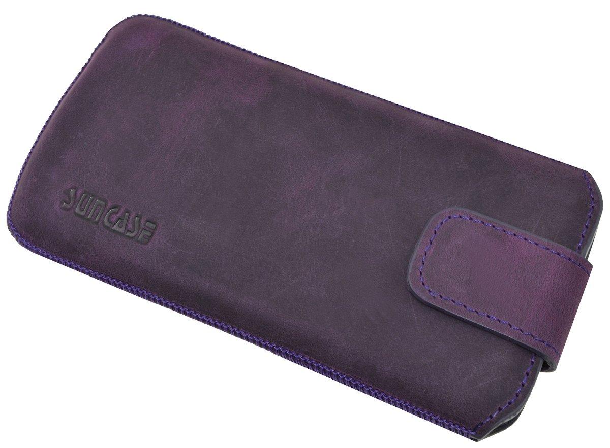 mit R/ückzugsfunktion und Magnetverschluss antik-kiwi gr/ün Suncase ECHT Ledertasche Leder Etui f/ür Sony Xperia XZ2 Compact Tasche