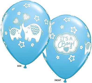 Globos De Latex Azul Y Gris Elefantes Para Decoracion Baby Shower Niño 32 Set