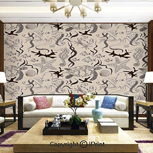 Mural Wall Art Photo Decor Wall Mural for Living Room or Bedroom,Contemporary Illustration of Marine Animals in Retro Style Octopus Crab Seahorse Art Deco Decorative,Home Decor - 66x96 inches