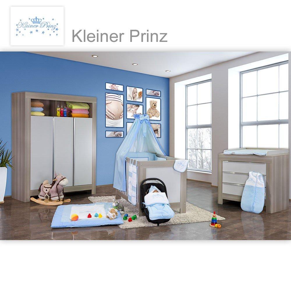 Babyzimmer Felix in akaziengrau 21 tlg. mit 3 türigem Kl. + kleiner Prinz in Blau