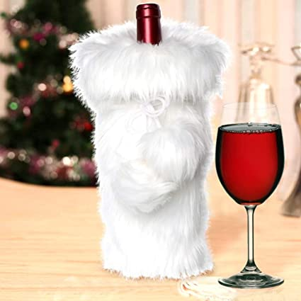 Image Unavailable. Image not available for. Color  AerWo Faux Fur Wine  Bottle Bag, White Christmas Wine Bottle Cover ... 1e433117ef
