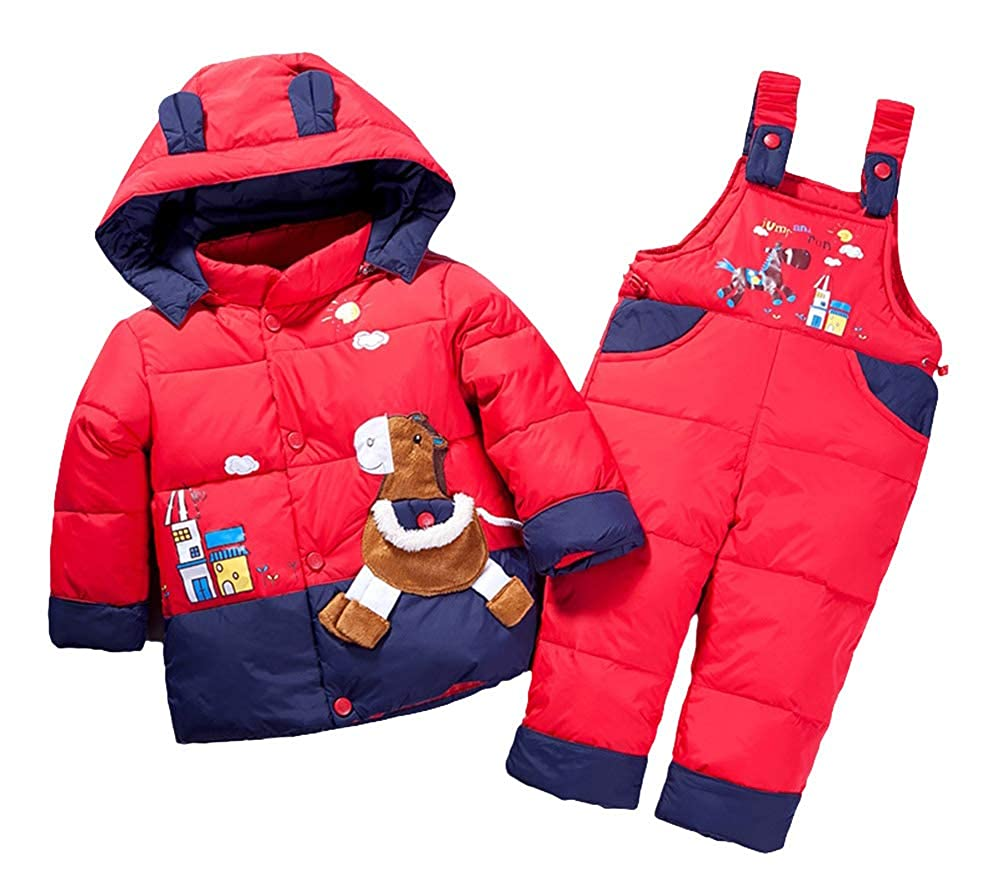 Insun Toddler 2 Piece Winter Hooded Down Jacket and Snow Ski Bib Pants Outfits
