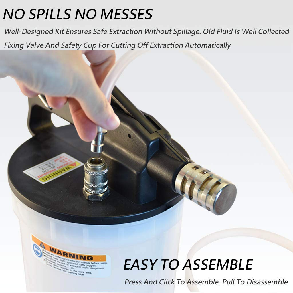 FIRSTINFO 2 Liter Pneumatic Brake Fluid Vacuum Extractor and Automatic Brake Fluid Bleeder/Pump Kit Include 4.9 ft Long Silicon Brake Fluid Hose with Check Valve by FIRSTINFO TOOLS FIT YOUR NEEDS (Image #3)