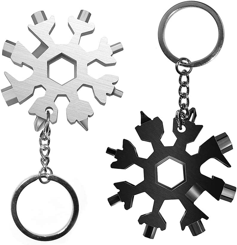 Mocato 2 Pack Stainless Steel Snowflake Bottle Opener Screwdriver Wrench ,18-in-1 Snowflake Multi-Tool,