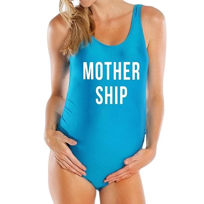 Keepwin-bañador Verano Nuevo!! Bikinis Mujer,2018 Letter Print Maternidad Tankinis Mujeres