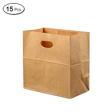 Jia Hu 15pcs papel Kraft bolsas de regalo con asas de grosor ...