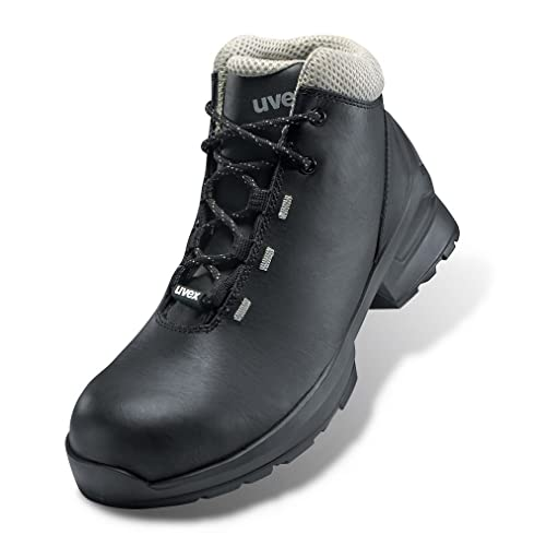 8808e4af267 Uvex 1 Black Leather S3 SRC Safety Work Boots Metal-Free ESD Rated