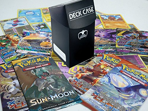 Pokemon Collector Starter Kit - Booster Packs, GX Card, Bulk Cards Lot (30 Pokemon Cards NO DUPLICATES - 5 Holo - 1 GX Card - 2 Sealed Booster Packs) Gift Toy Value Deck Box