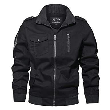 Clearance Forthery Mens Casual Military Jacket Windbreaker Jacket Outdoor Coat Outwear(Black , US Size