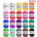 BCMRUN Skeins Bonbons Yarn Assorted Colors 100% Acrylic for Crochet & Knitting Multi Pack Variety Colored Assortment (2025g)