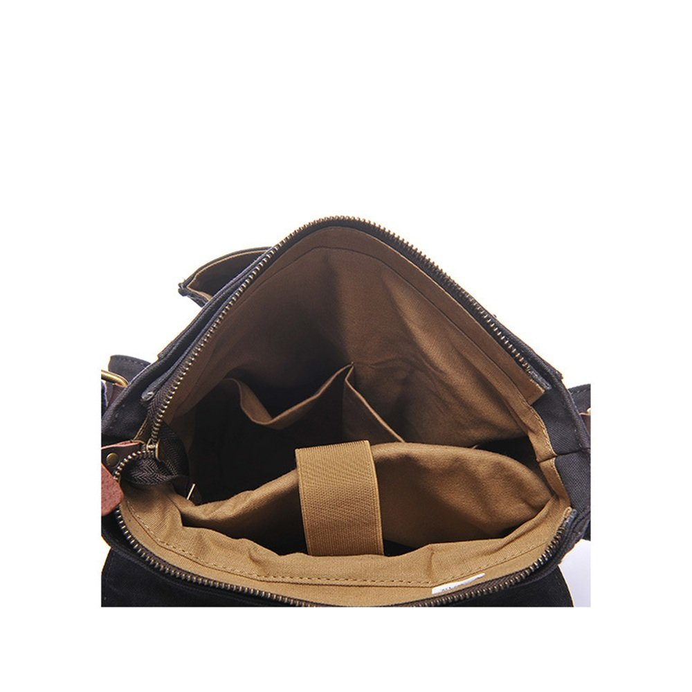 Sunmiao Simple Retro Zipper Waterproof Canvas Shoulder Bag Messenger Bag Color:Gray