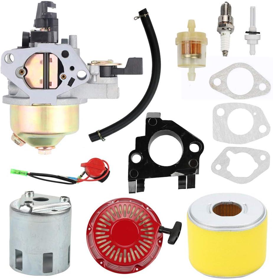 Highmoor GX390 Carburetor + Recoil Starter Air Filter Tune Up Kit for Honda GX340 GX 340 GX 390 13 HP 11HP Engine 4-Stroke Engine Lawn Mower Tiller Cultivator Replace 16100-ZF6-V01
