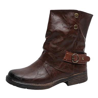 ❤ Botas Vintage para Mujer, Botines de Cuero con Punta Redonda, Cremallera, Botas, Zapatos de tacón Cuadrados Absolute: Amazon.es: Ropa y accesorios