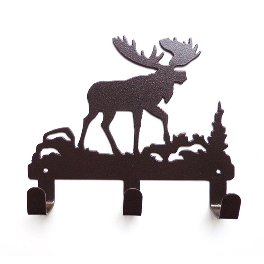 YOURNELO Cute Ironwork Cartoon Characters Animals Art Wall Mounted Decorative Coat Rack Hooks (Moose Brown)