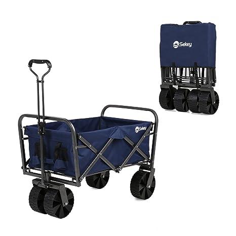 Sekey Folding Handcart Folding Trolley Outdoor Wheelbarrow Beach Trolley Folding Wagon Outdoor Garden Trailer Transport Trolley Suitable for All Terrain Black with Grey