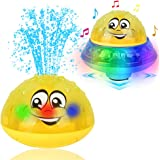 Eutreec Bath Toy, 2 in 1 Squirt Spray Water Toy LED Light Up Float Toys Automatic Induction Sprinkler Space UFO Car Toys…