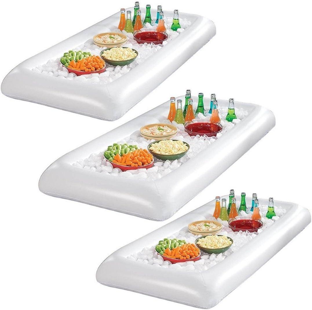 OUNONA Hinchable Bandeja Buffet Bar Hielo Comer Enfriador Beber Plana con tapón de desagüe 3Pieza (Color Blanco)