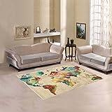 D-Story Home Art Floor Decor watercolor world Map Indoor Area Rug Carpet 5'3''x4'