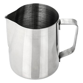Mi jarra para leche jarra con marcas de medición Medición   12 profesional de acero inoxidable ...
