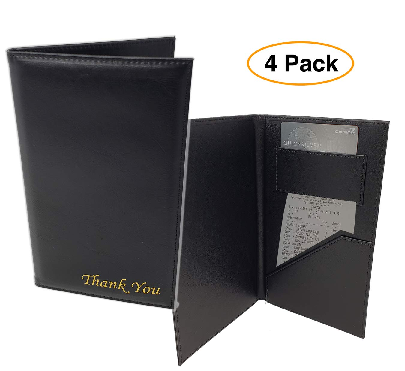 Restaurant Check/Bill Card Holder - Receipt Pocket, Padded Leather''Thank You'' on Cover (4 Pack)