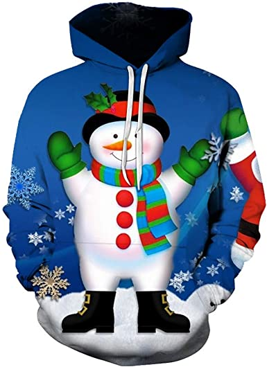 VEZAD Store 3D Funny Christmas Hoodie Printed Sweatshirt Ugly Sweater Long Sleeve Tops with Pocket for Men Women