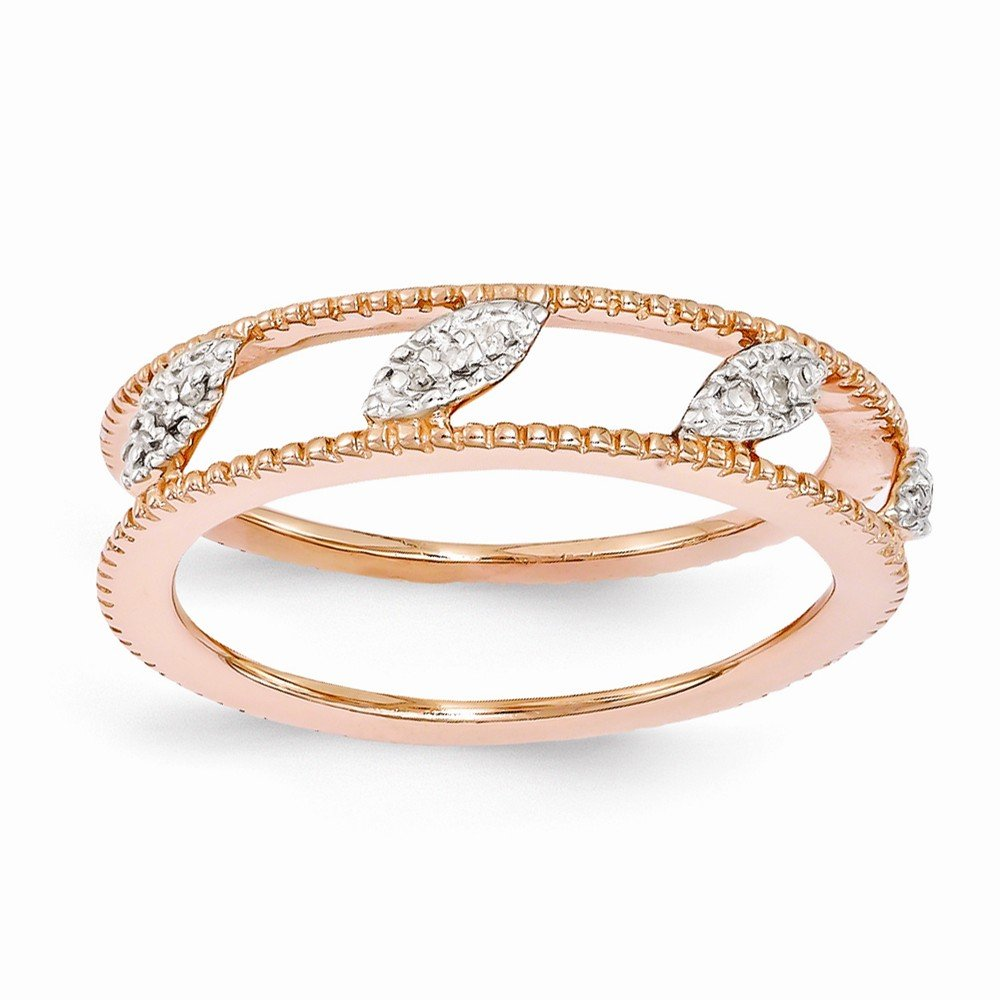 Sterling Silver Stackable Expressions Rose Gold-plated Diamond Jacket Ring
