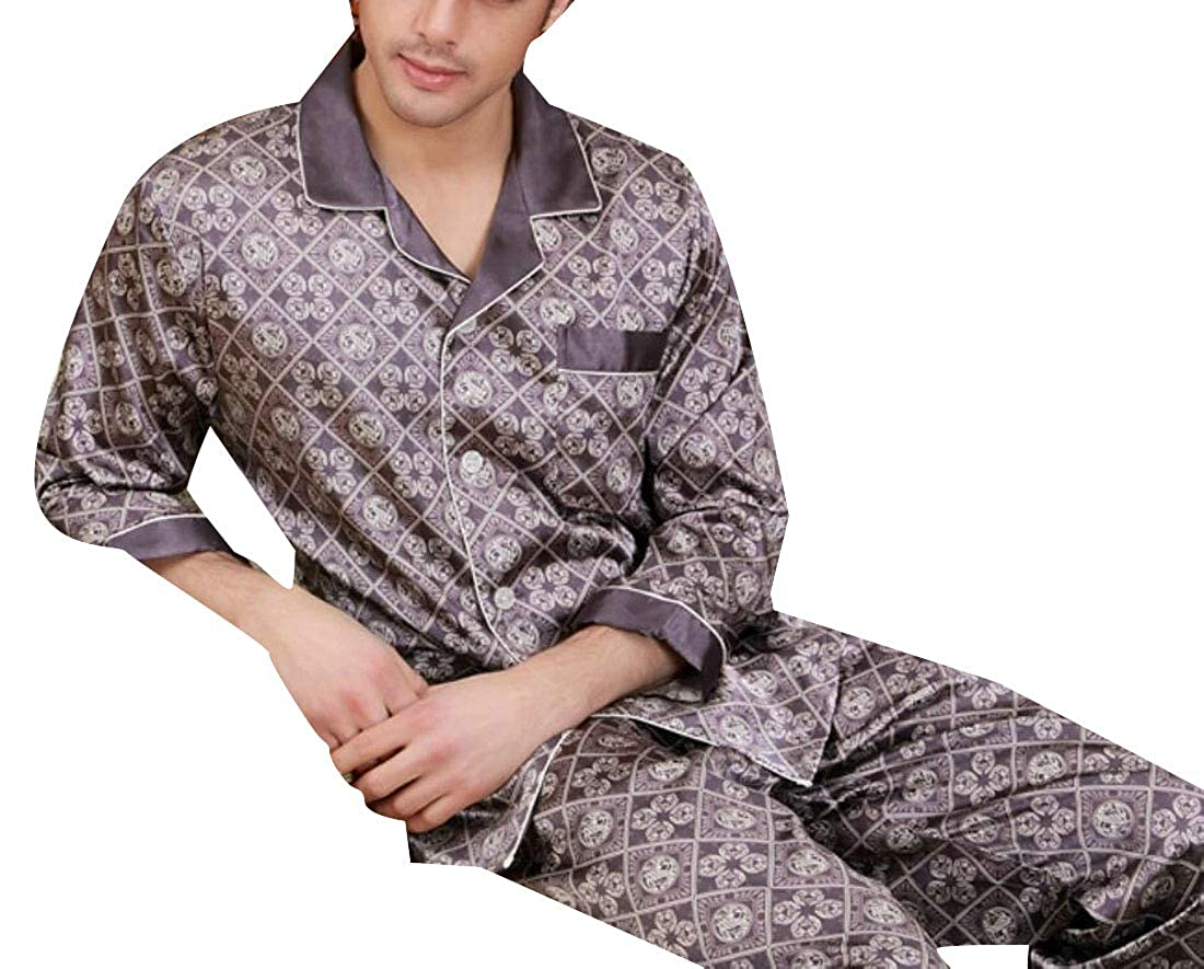 X-Future Mens Silk Sleepwear Print Buttons Long Sleeve Nightwear Pajama Sets