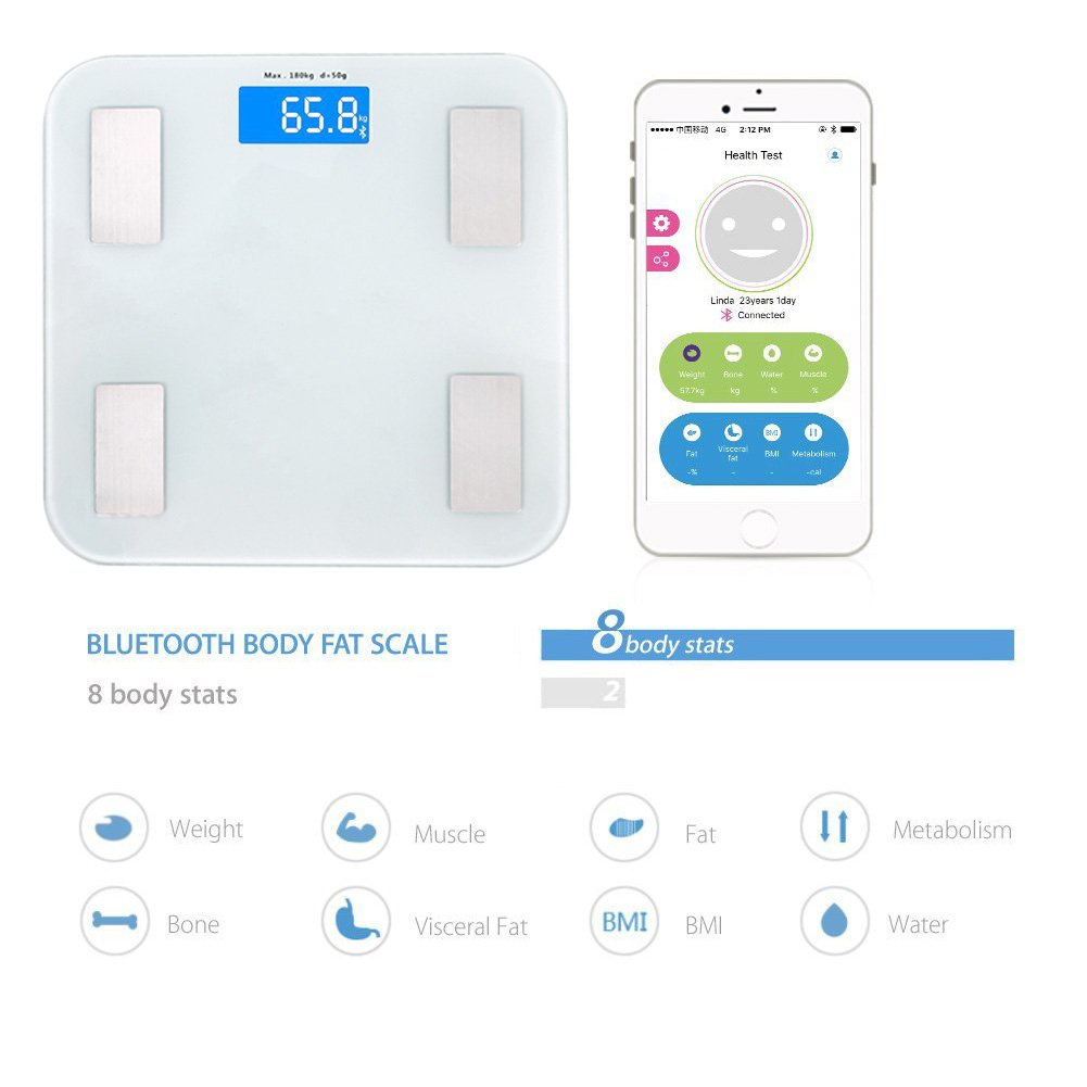 Bluetooth Báscula de Baño, Grasa Corporal Analisis Balanza,Electrónicas inteligentes basculas, Análisis de índice de cuerpo, Bluetooth Conexión, ...