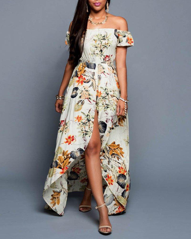 Damen Elegant Strandkleid Schulterfrei Kurze Ärmel Blumen Drucken Langes  MaxiKleid Clubwear Cocktailkleid Mit Kurze Hose: Amazon.de: Bekleidung