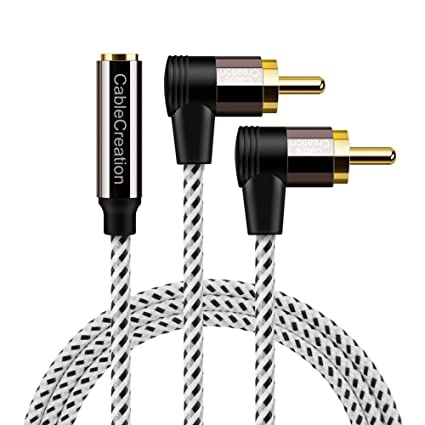 Amazon 35mm to rca cablecablecreation 6ft 35mm female to 35mm to rca cablecablecreation 6ft 35mm female to angle 2rca male stereo greentooth Images