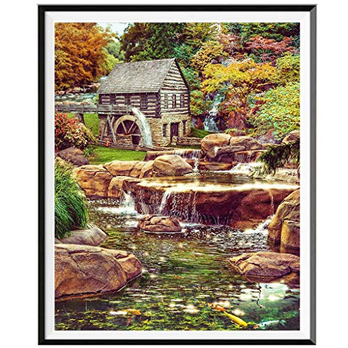 Rakkiss 5D Diamond Painting Rhinestone Dream Forest Cabin River Natural Embroidery Wallpaper DIY Cross Stitch Kit Crystal Full Drill Drawing for Adult Tools Home Decoration 25x30cm White ()