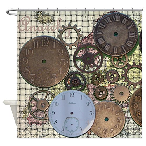 CafePress Shower Curtain - Steampunk Old World Map Shower Curtain - White