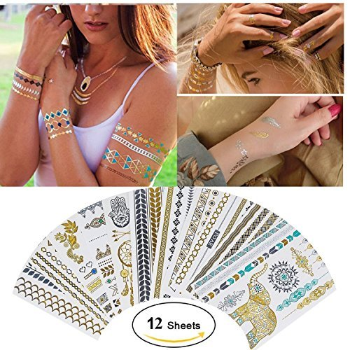 Temporary Metallic Tattoos,Gold Silver Glitter Metallic Body Tattoos Flash Fake Waterproof Tattoo Stickers