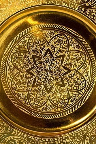 Vassoio rotondo orientale in metallo Sidra 30 cm vassoio da t/è marocchino in colore oro decorazione orientale sul tavolo vassoio dorato orientale