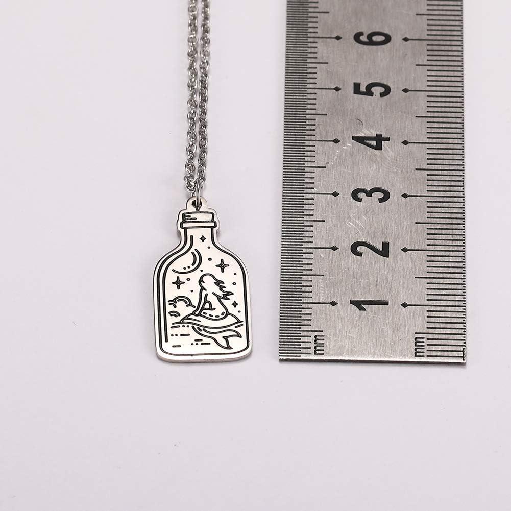 VASSAGO Engraved Mermaid Sea Moon Star Necklace Bottle Shape Stainless Steel Pendant for Teens Women and Men