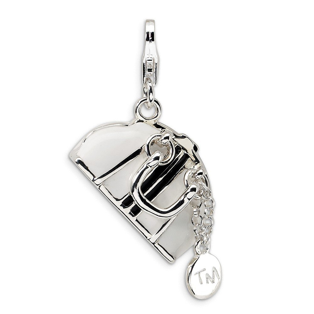 24mm x 38mm Jewel Tie 925 Sterling Silver 3-D Enameled Purse with Lobster Clasp Pendant Charm