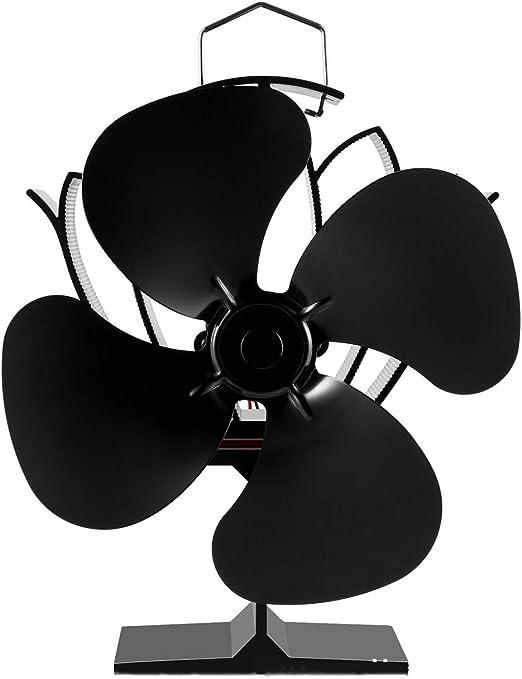 Ventilador para Chimenea Estufa Ventilador estufa de leña estufa superior de ventiladores for registro Burner, 4-Blade calor accionada Chimenea Ventilador (Color : Negro , tamaño : 20.3x18x16cm) : Amazon.es: Hogar