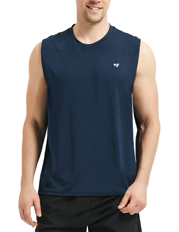 Roadbox Men's Performance Sleeveless Workout Muscle Bodybuilding Tank Tops Shirts(Blue Small) by Roadbox