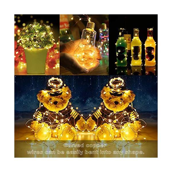 2 Pezzi Stringa Luci LED - 10M/33FT Catene Luminose 100LED Luci Natalizie Batteria Impermeabile IP65, Esterno/Interni Lucine Decorative per Balcone Giardino Feste Natale (Bianco Caldo) 6 spesavip