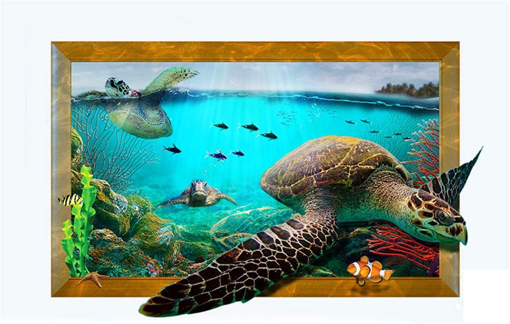 3D Sea Turtle Whale Wallpaper Wall Mural Removable Self-adhesive Sticker 259