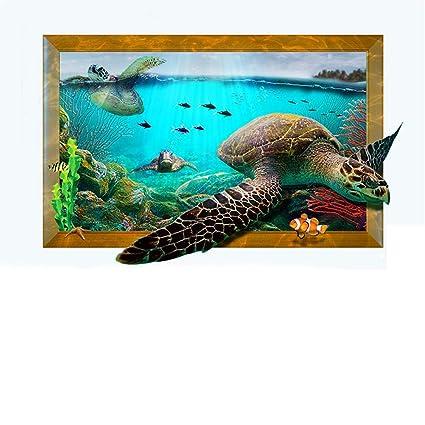 Amazon.com: 3D Ocean Sea Turtles Home Living Bedroom Decor ...