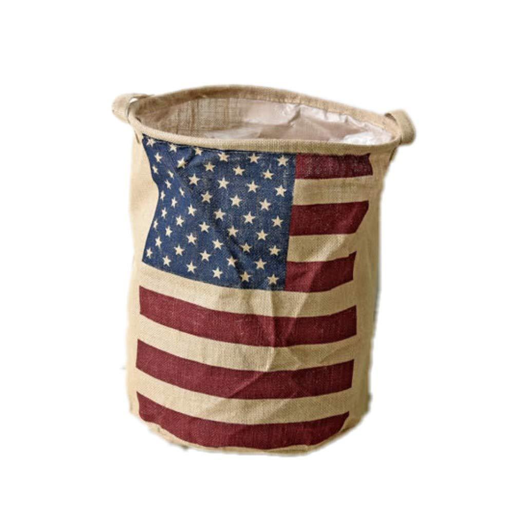 Handmade houseware Fashion Zakka Jute Fabric Large Storage Box New Home Decor Cotton Linen Water Proof Organization Barrel Collapsible Open Laundry Dirty Clothes Hamper (America Flag)