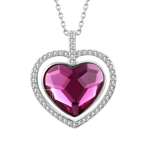 Collares Corazón Amor Mujer con Colgante Cristal Swarovski y
